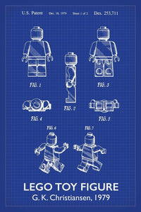Lego man patent art print by alto cole blueprint specialists lego man patent art print 16x24 inches titled blueprint poster malvernweather Images
