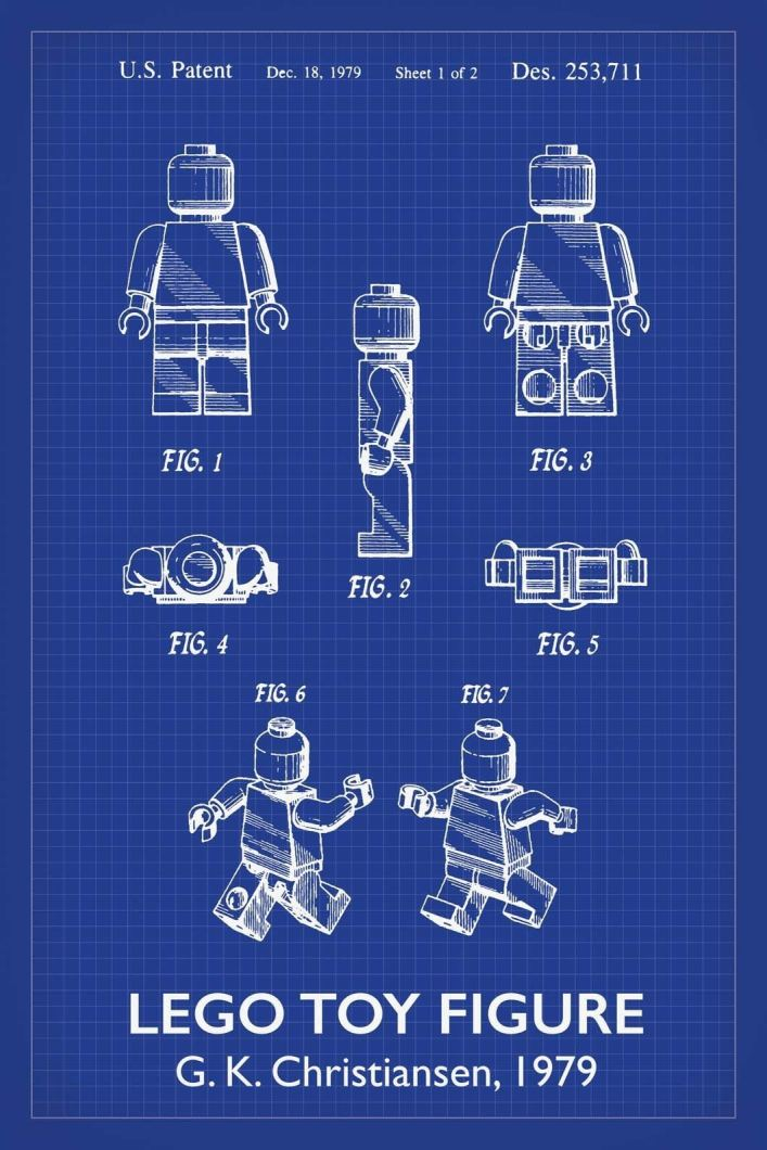 Lego Man Patent Art Print - 16X24 Inches / Titled Blueprint / Poster