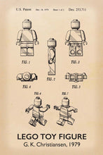 Lego Man Patent Art Print - 16X24 Inches / Titled Retro / Poster