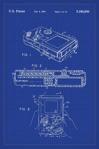 Nintendo Gameboy Patent Print - 16X24 Inches / Blueprint / Art Poster