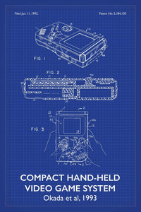 Nintendo Gameboy Patent Print - 16X24 Inches / Titled Blueprint / Art Poster