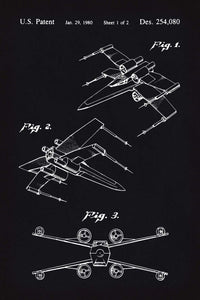 X-Wing Star Wars Patent Art Print - 16X24 Inches / Blackboard / Poster