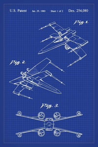 X-Wing Star Wars Patent Art Print - 16X24 Inches / Blueprint / Poster