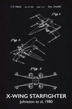 X-Wing Star Wars Patent Art Print - 16X24 Inches / Titled Blackboard / Poster