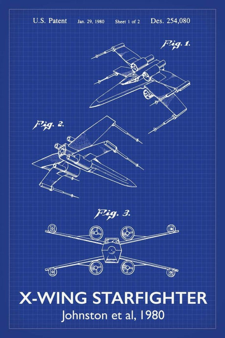 X-Wing Star Wars Patent Art Print - 16X24 Inches / Titled Blueprint / Poster