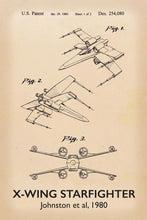X-Wing Star Wars Patent Art Print - 16X24 Inches / Titled Retro / Poster