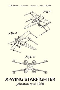 X-Wing Star Wars Patent Art Print - 16X24 Inches / Titled White / Poster