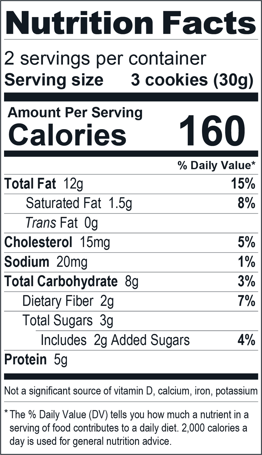 Keto-Snaps Cinnilla 2-serving tin. Gluten-free Keto cookies nutrition label.
