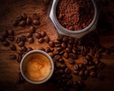 Coffee grounds and whole beans
