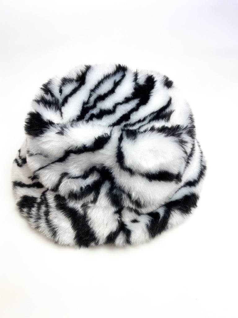 FAUX FUR ZEBRA PRINT BUCKET HAT