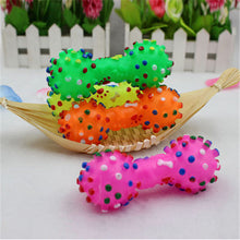 Load image into Gallery viewer, 1pcs Pet Dog Cat Puppy Sound Polka Dot Squeaky Toy Rubber Dumbbell Chewing Funny Toy