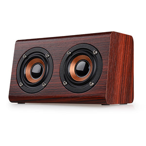 Blueple W7 Retro Wood HIFI 3D Dual Loudspeakers Bluetooth Wireless Speaker With Hands-free TF Card AUX IN for phones