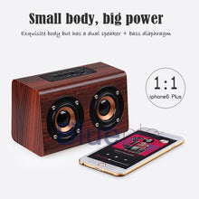 Load image into Gallery viewer, Blueple W7 Retro Wood HIFI 3D Dual Loudspeakers Bluetooth Wireless Speaker With Hands-free TF Card AUX IN for phones