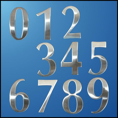 0-9 Modern House Numbers Stainless Steel Number Digits Sticker Plate Sign Size 6.2*3.5*1.9cm Door Letters Room Gate Number