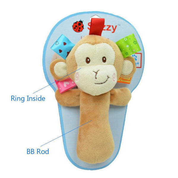 0M+ Soft Animal Baby Toy Ring Bell Baby Plush Rattle Squeaker Rod Cute Cartoon Animal Musical Dog Frog Monkey Lion Plush Toy