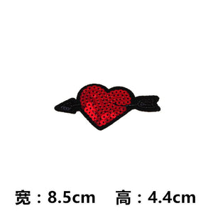 1 Pcs Sewing Sequins Embroidered Patches For Clothing Love Stars Lips Decoration Parches Bordados Cloth Patch