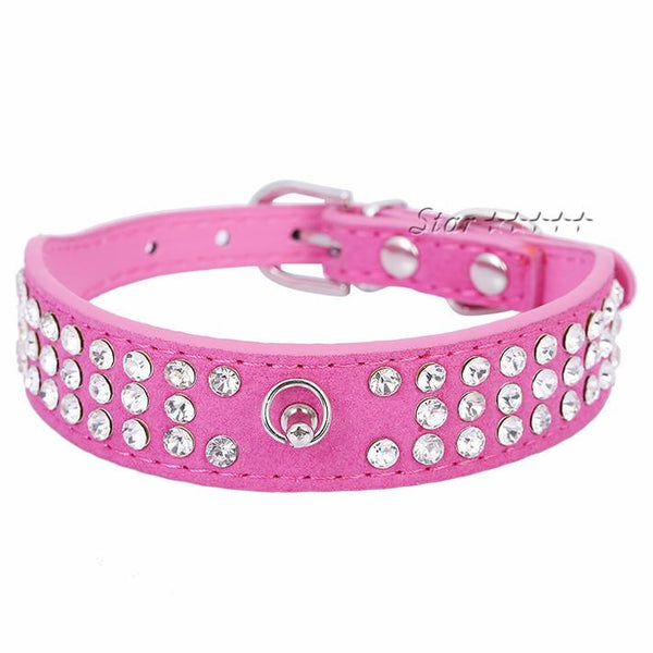 1 Inch Wide PU Suede Leather Bling Rhinestones Diamonds Pet Dog Collar