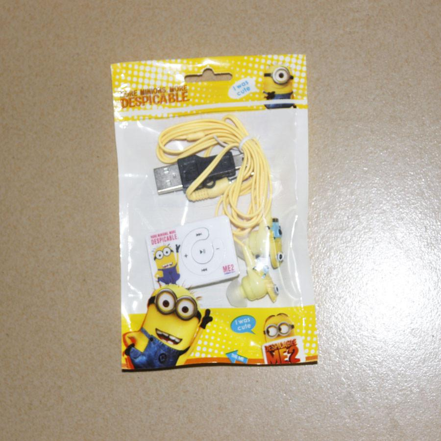 1 pcs lot Style Mini Despicable Me Cartoon Anime Shaped Card Reader MP3 Music Players With Earphone&Mini USB