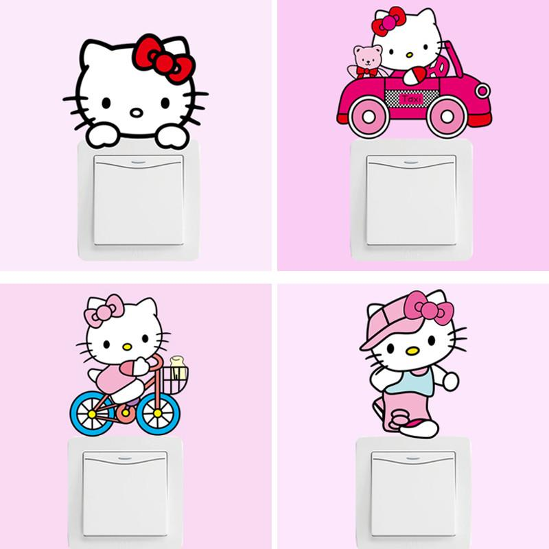 1 Set of 10pcs Cartoon Removable Cute Lovely Pink Hello kitty Switch Wall Sticker Vinyl Decal Home Decor Decal