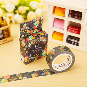 1 x 1.5cm*7m Blue Kam flowers washi tape DIY decorative scrapbook planner masking tape adhesive tape stationery