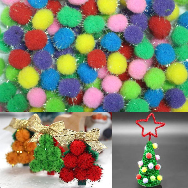 10 15 20mm Glitter Pompon Plush Balls DIY Crafts Home Decorative Flowers Intelligence Educational Toy Accessories