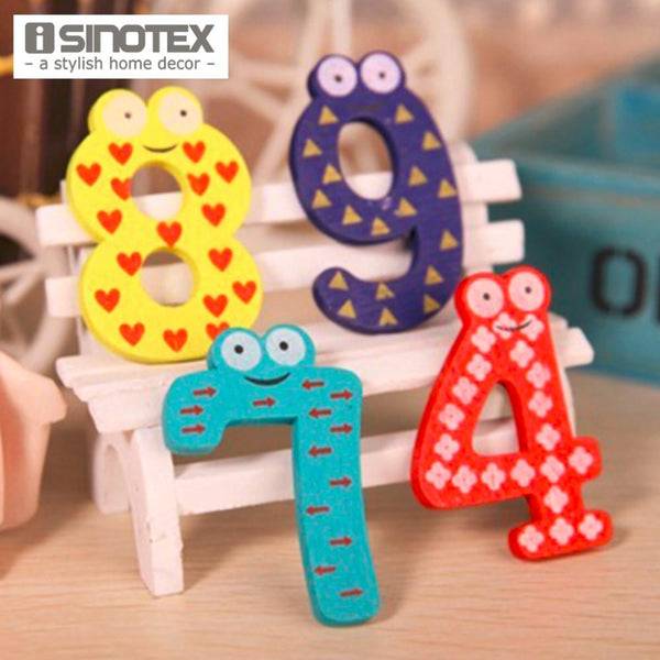 10 PCS Set Cute Number Baby Kids Children Lovely Wooden Alphabet Refrigerator Fridge Magnets Stick Figure Early Learning Toys