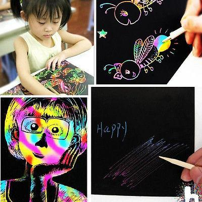 10 Sheet 16K Colorful Scratch Art Magic Drawing Toys Painting Paper Kids Toy