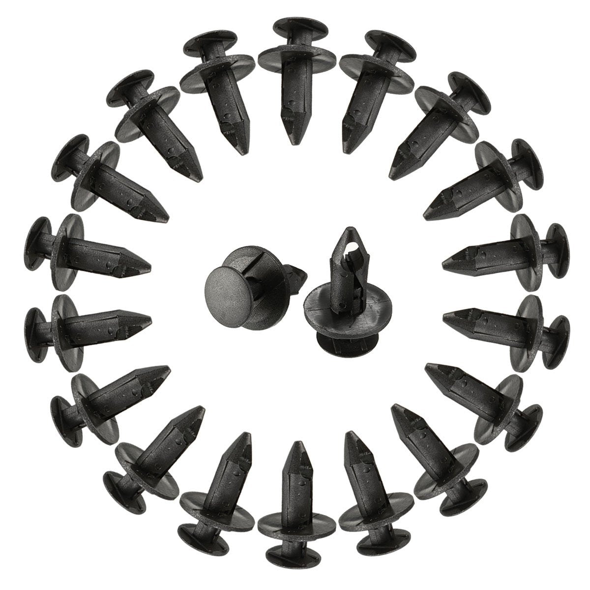 100 Pcs set 8mm Hole Dia Plastic Rivets Fastener Push Clips Black for Car Auto