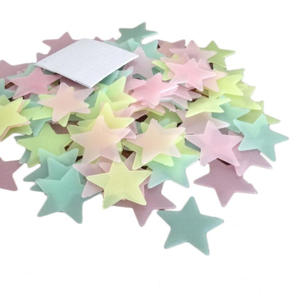 100pcs 3.8cm 3D Stars Glow In The Dark Luminous Fluorescent Plastic Wall Stickers Home Decor Decals