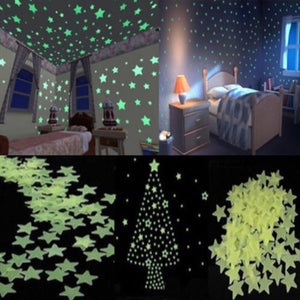 100pcs set Glow in the Dark Wall Stickler Light Green Luminous Star Wall Stickers for Kids Room