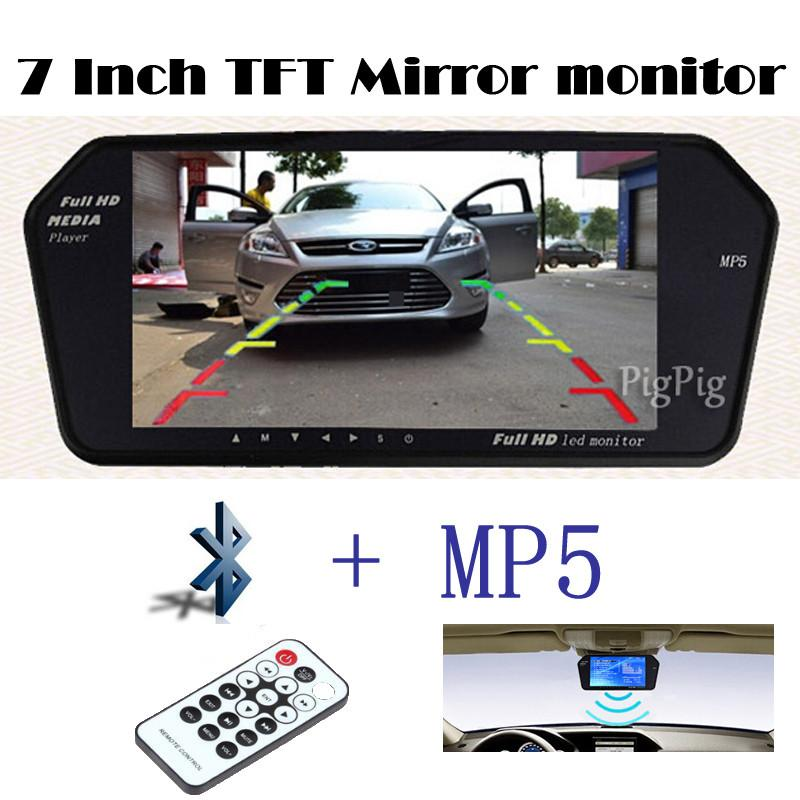 1024x600 High Resolution 7INCH TFT LCD rearview Monitor Mirror Sreen TF USB Bluetooth MP5 Car Parking Monitor reversing priority