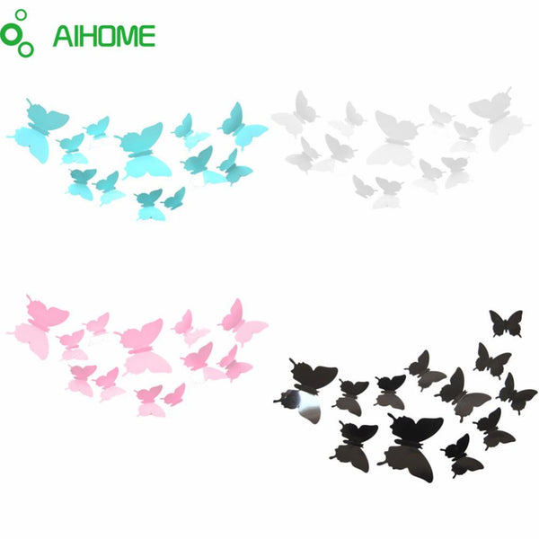 12PCS Lot Butterflies 3D Wall Stickers Art DIY Home Decoration Removable Wedding Decorations PVC Waterproof Wall Decals Stickers