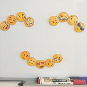 13 kinds of expression pack Cute Round Cartoon Smile Emoji Face Refrigerator Sticker Fridge Magnet Toy Glass Fridge Magnet