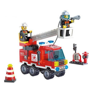 130Pcs Fire Fighting Truck DIY Model Building Blocks Educational Puzzle Action Figure Toys Kids Birthday