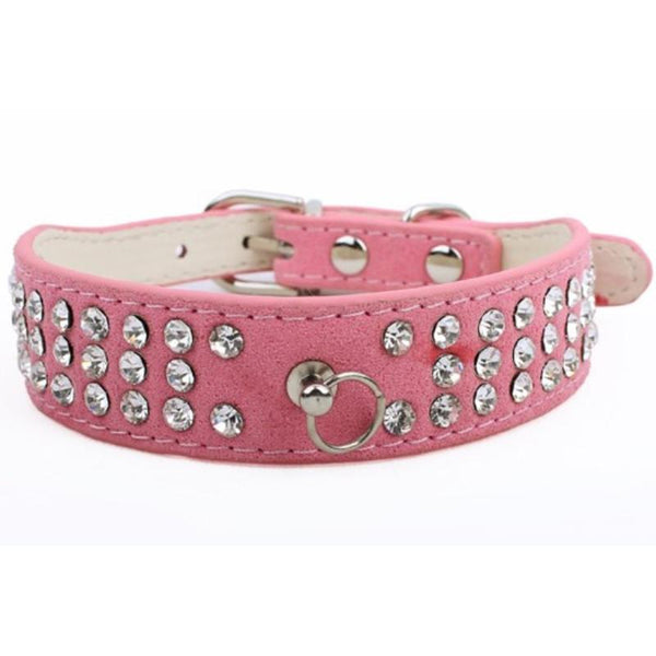 1pc Dog Collars Pet Small Dog Leather Collar Rhinestone Necklace S M L 3 Rows Bling Rhinestone Animal Dog Accessories