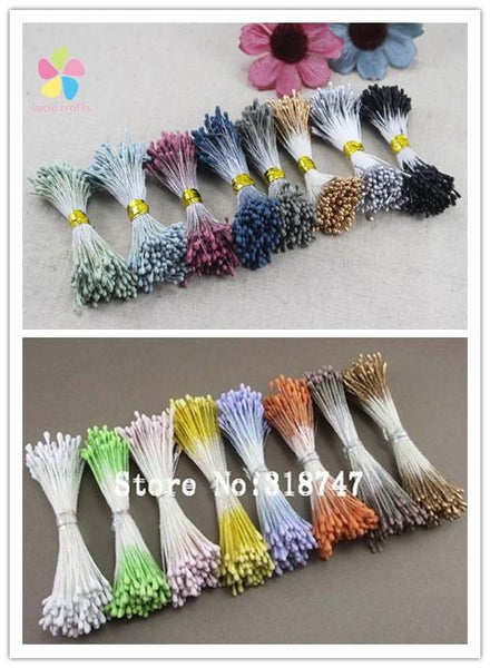 1mm 800pcs Mixed 8 colors double tips headers1mm matte pearl flower stamen cake decoration 11020117