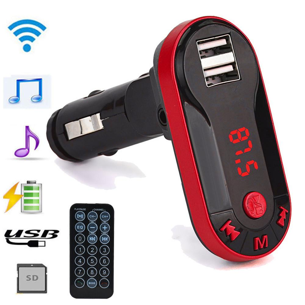 1PC 12V Universal Bluetooth 3.0 Wireless FM Transmitter MP3 Player Hands Car Kit USB TF SD Remote Car Accessories