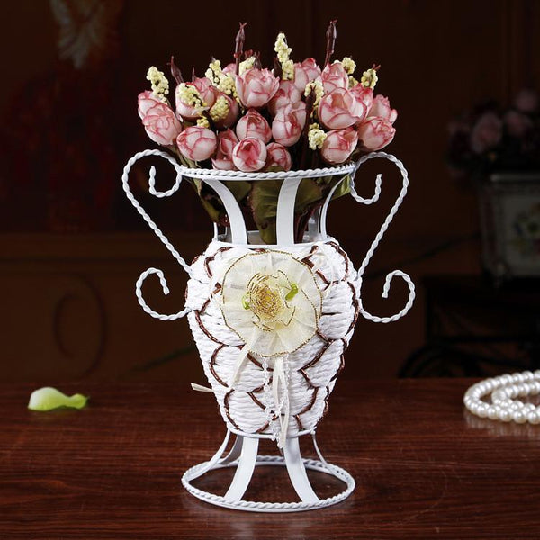 1PC 2016 European iron flower basket weaving table decoration flower inserting device weave flower vase J1172