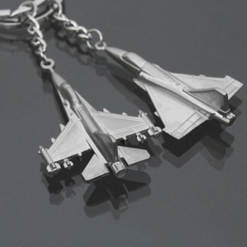 1PC Car Keyring Aircraft Fighter Jets Metal Alloy Warplane Keychains Creative 2 Styles Random Sent