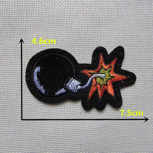 1PCS Cartoon character cool black bombs melt adhesive clothing patch applique embroidery blossom DIY accessories C335 patch