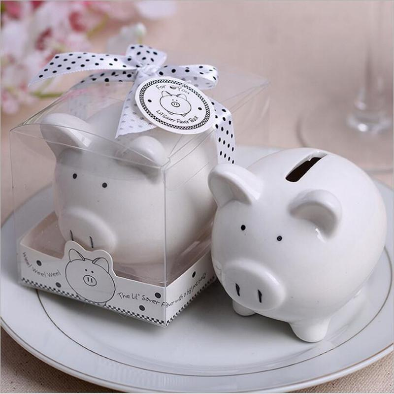 1pcs Lovely ceramics Pig piggy bank + box Baby shower Wedding Favors kids pig money box