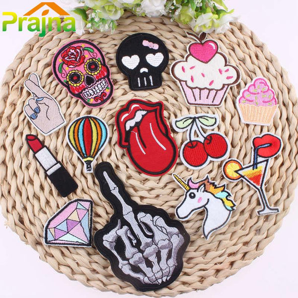 1PCS Unicorn Skull Patch Rainbow Iron On Cartoon Patches Kids Embroidered Cute Patches For Clothing Fruit Emoji Patch Food