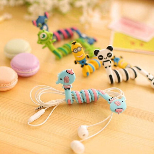 1x Lovely(8 Style optional)Cartoon animal bobbin winder ear mechanism storage line hub multi-function Cables to receive Bag clip