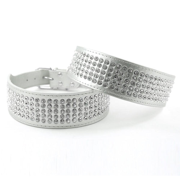 2 inch Width 5 Rows Rhinestone Dog Puppy Pet Collars Bling Full Diamante Leather Collar 13-24 inch Xs S M L Xl