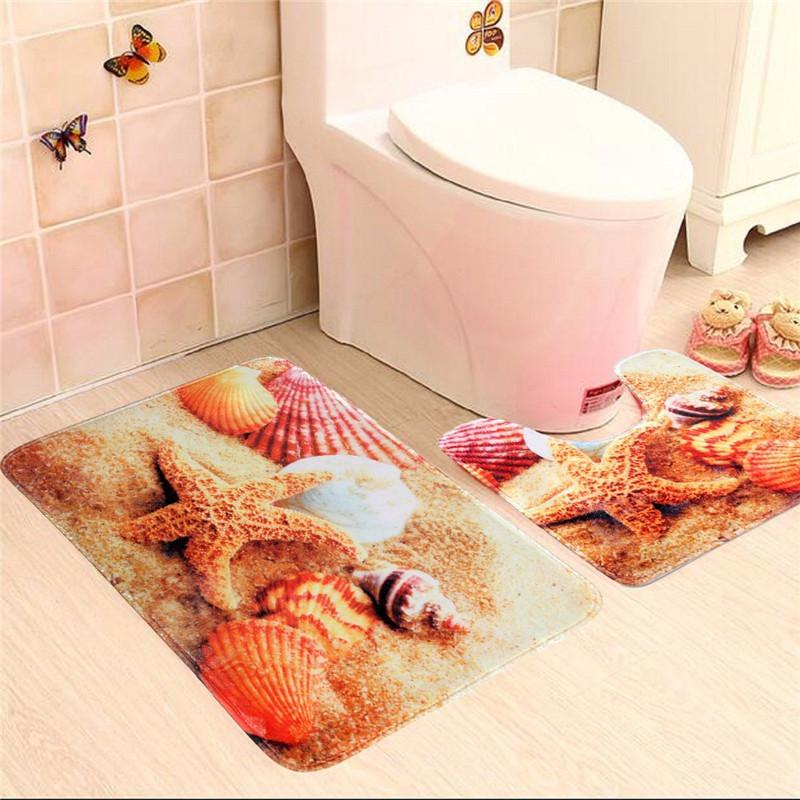 2 Pieces of Marine Shell and S tarfish Cucumbers Slip Carpet Mats Bathroom Toilet Contour Mat The