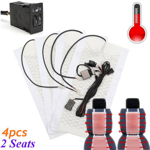 2 Seats 4 Pads Universal Carbon Fiber Heated Seat Heater 12V Pads 2 Dial 5 Level Switch Winter Warmer Seat Covers