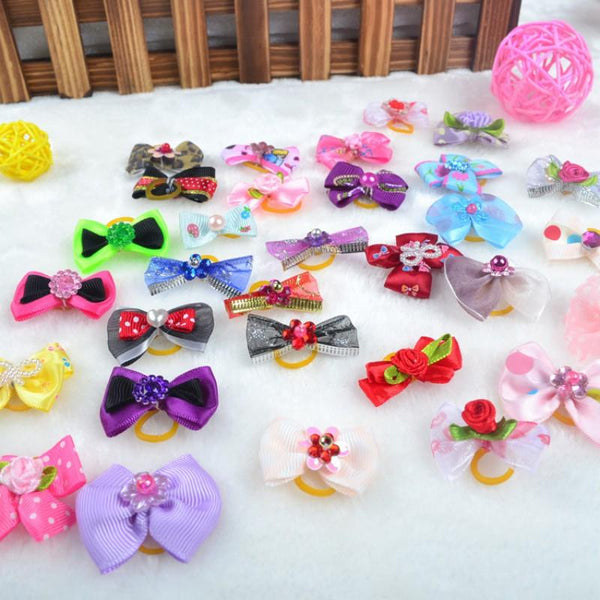 20 Pcs 50 Pcs 100 Pcs Handmade Pet Grooming Accessories Products Dog Bow Hair Little Flower Bows For Dogs Charms