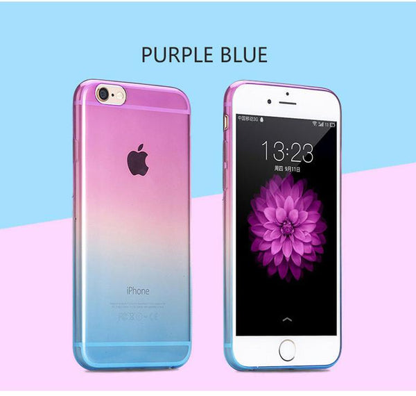 2016 Top Quality Phone Cases For Apple Iphone 6 6s Case Fashion Transparent Gradient Color Back Design Ultra Soft Tpu