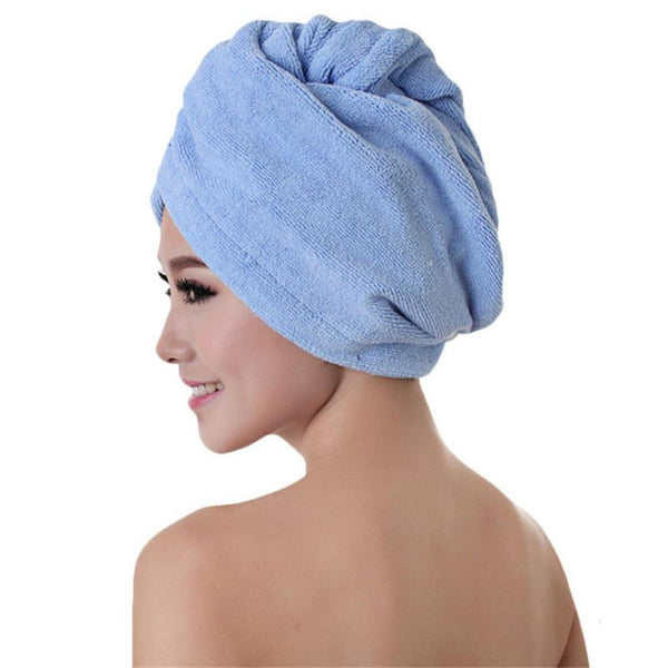 2016 Fashion Women Absorbent Microfiber Towel Turban Hair-Drying Shower Caps Bathrobe Hat multi colors