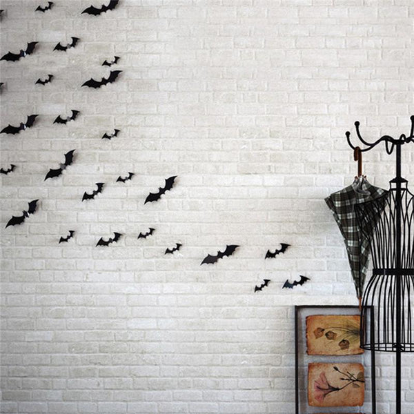 2016 Halloween 12pcs Black 3D DIY PVC Bat Wall Sticker Decal Home Halloween&All Saints' Day decor bats sticker supply